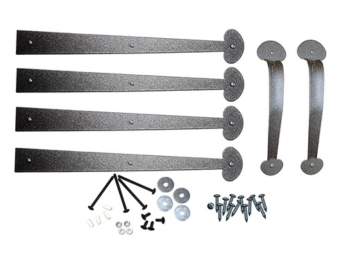 "Americana Hardware Kit Stamped Steel 16""and 24"" Colonial Bean End Hinges w/Lift Handles"